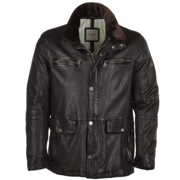 Leather Coat With Detachable Collar Dark Brown : Ryan T