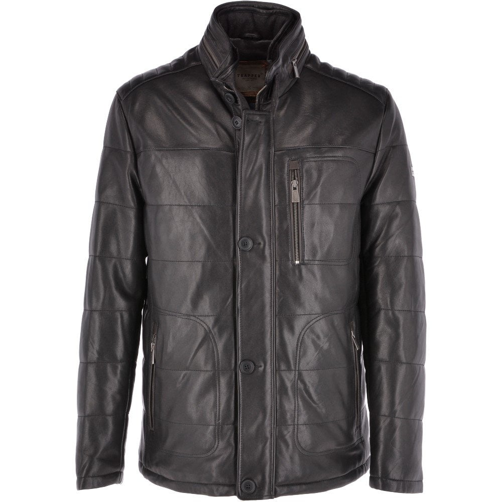 070949abcbd1d TRAPPER Leather Jacket Black   Ben - Mens from Leather Company UK