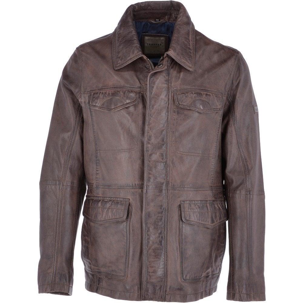 86c2866c5 Leather Vintage Safari Jacket Tobacco: Roberto