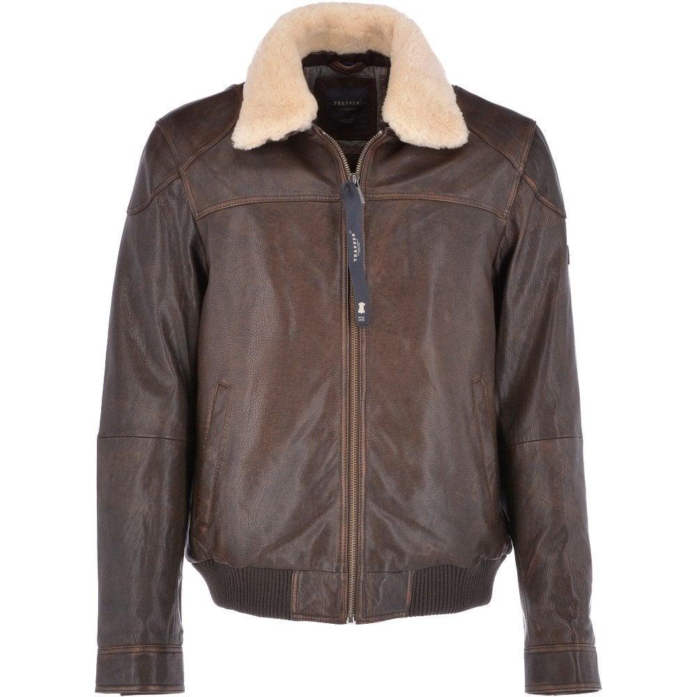 2cb3003a0 Vintage Leather Pilot Jacket With Detachable Fur Collar Brown : Antonio