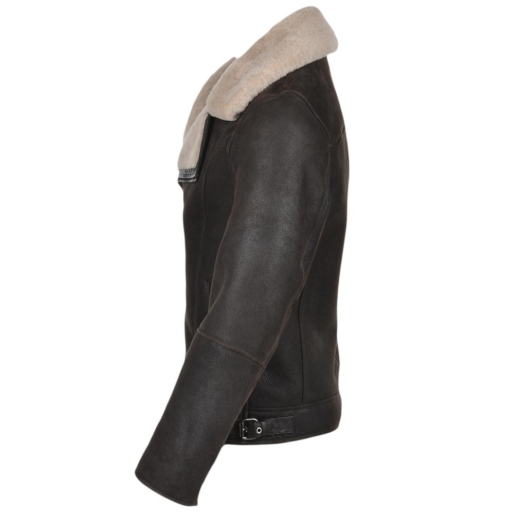 Side zip leather jacket