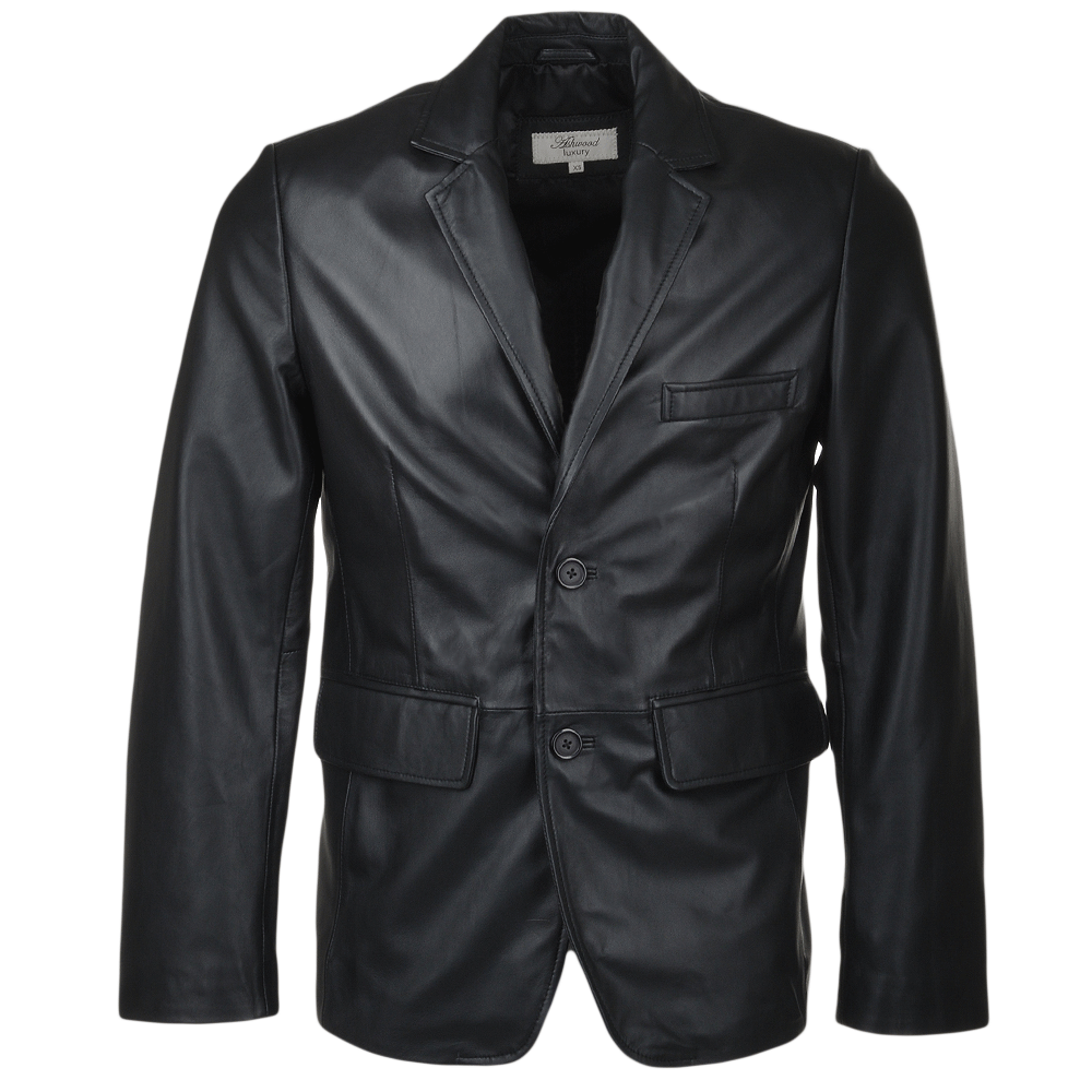 Mens Two Button Leather Blazer Black : Capone | Mens Leather Jackets