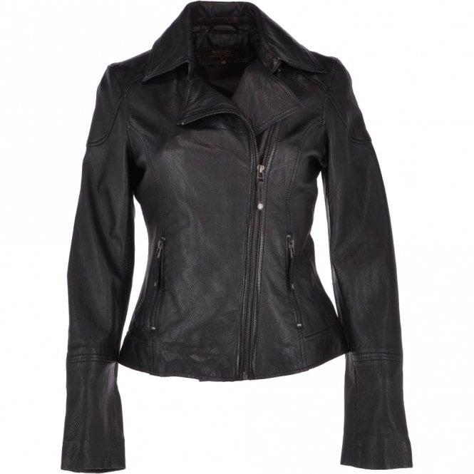8cc3bf7f457dc Women's Leather Biker Jacket Black : Marsei