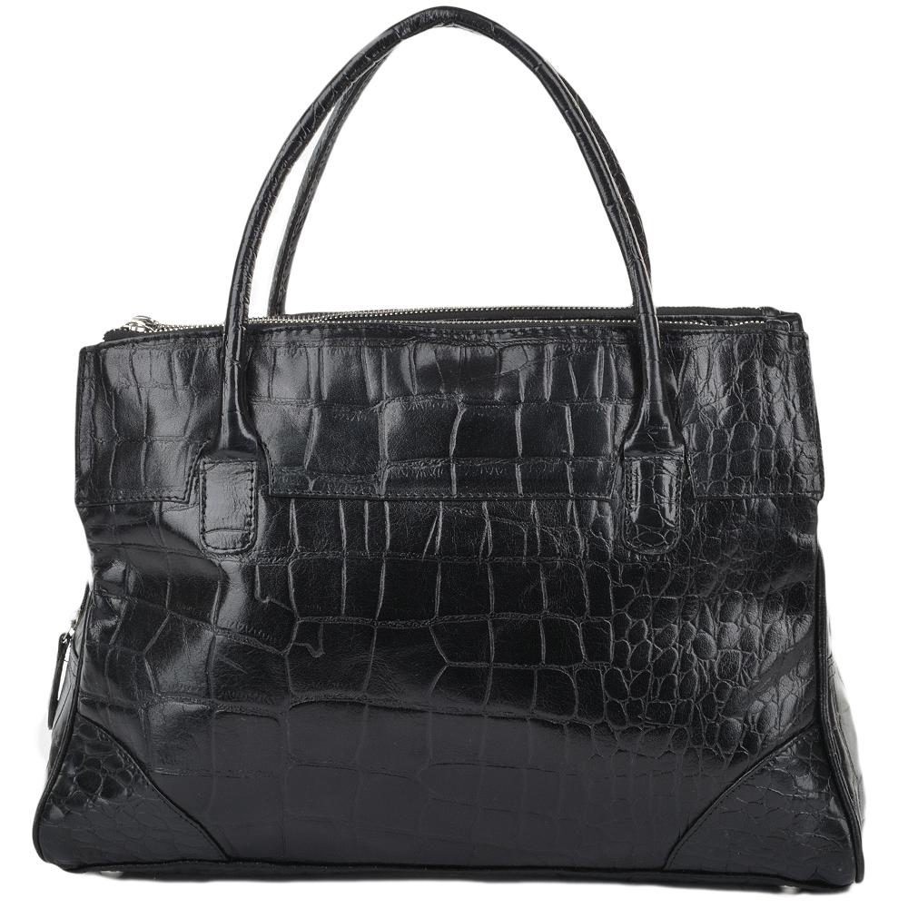 8abcccd7b89 Womens Leather Crocodile Print A4 Workbag - Blk/croc