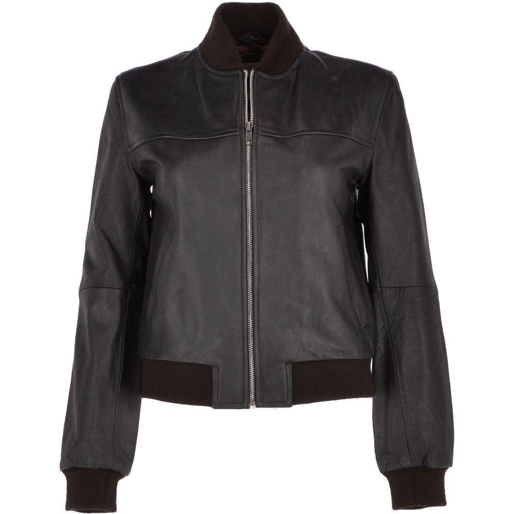Womens Short Leather Bomber Jacket Brown/ gla : Mina